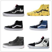 Wholesale hi low tops - 2018 VANS Men Women Canvas Shoes Old Skool Vans Shoe High-Top Sk8-hi Casual Sneakers 36-44