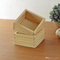 ingrosso scatola di vaso di fiori-Originalità Square Succulente Pentole Desktop Giardinaggio Decor Planter Vaso di fiori in legno Multi funzione Tromba Exquisite Storage Box 2zl jj