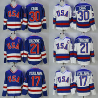 Wholesale usa hockey resale online - men s Jim Craig Mike Eruzione Jack O Callahan USA Hockey Jersey Team USA Miracle On Alternate Year Vintage Jerseys