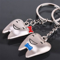 Wholesale Dental Children - Smile Face Sweet Keyring Cartoon Stainless Stee Tooth Model Dental Keychains Pendant Creative Gift Key Buckle For Children 1 4kd Y