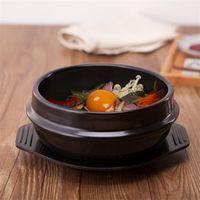 ingrosso vasi coreani-Cucina coreana Dolsot Ciotola di pietra Pentola di terracotta per Bibimbap Miso Zuppa di ceramica Robusta Pentola resistente al calore con vassoio di alta qualità 16ff2 Z