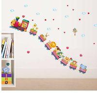 etiqueta de la pared del tren de dibujos animados al por mayor-Cartoon train kindergarten decoración de la pared pegatinas de papel tapiz bebé dormitorio de los niños habitación pegatinas de pared