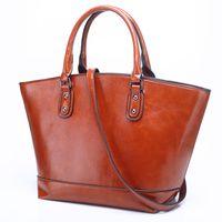 Wholesale women causal lace dress - 2018 Limit discounts Women Genuine Leather Handbag Causal Totes Female Shoulder Bag Vintage Trapeze High Quality Strap Handbag