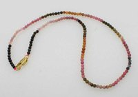 Wholesale tourmaline beads necklace - wholesale multicolor Tourmaline 3-4mm round chocker necklace 16inch FPPJ nature beads
