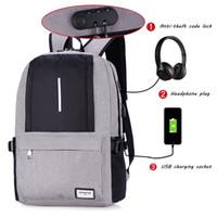 ingrosso mens della borsa del computer portatile-USB Charge Anti Theft Backpack per Uomo Casual Laptop Uomo BackpacFashion Travel Duffel School Bags Borsa Sac A Dos