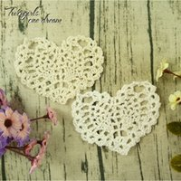 Wholesale doily hearts - Vintage DIY Multicolor 11*9cm Heart Coaster Handmade Crochet Doilies Table Decor Cup Pad Props Placemat Wedding Gift 50pcs lot