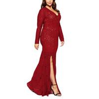 ingrosso pizzo più vestiti di formato in linea-Plus Size Women Dress Lace Full Length Europeo vendita calda online Sexy elegante abito da sera formale Split 3XL-8XL