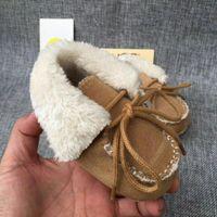 ingrosso scarponi da bambino-Morbidi scarpe per bambini sole invernali caldi stivali da neve Neonati maschi ragazze primo camminatore infantile Prewalker scarpe 0-1T