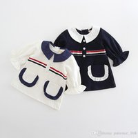 Wholesale preppy cardigan - 2 color 2018 INS new styles spring long sleeve cute doll collar high quality cotton Cardigan coat elegant girl preppy chic t shirt