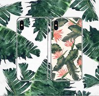 Wholesale iphone banana - INS Summer Banana Leaf Plant Pattern Flexible Soft TPU Case Rubber Ultra Thin Slim Cover For iphone X 8 7 6s plus Samsung S9 S8 Note 9 8 OPP