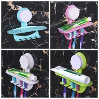 Wholesale Toothbrush Toothpaste Holder For Bathroom - Wall Mount Stand For Toothbrush Toothpaste Family Toothbrush Holder Bathroom Sucker Suction Organizer Rack CCA8860 150pcs