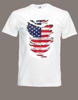 eua abs venda por atacado-USA Flag T-Shirt veja Músculos Abs através dos Estados Unidos Bandeira Tamanho S para XXXL