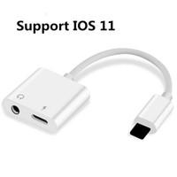 adaptateurs casques achat en gros de-Pour iPhone X Câble Chargeur aux câbles Adaptateur 2 en 1 écouteurs Musique iPhone 7 8 Plus Prise Aux Jack Jack Câble Audio et de Charge
