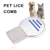 Wholesale Nits Lice - Pet Cat Puppy Dog Lice Comb Nit Remover Professional Stainless Steel Fine Teeth Louse Comb Pet Cat Dog Grooming Brush Tools