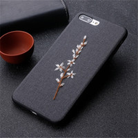 Wholesale iphone blue flowers case online - 3D Handmade Embroidery Case With Wristband For Iphone X XR XS MAX Flower Phone Cover For Iphone Plus