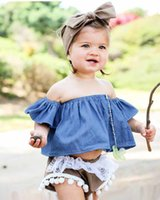 Wholesale Girls Princess Tee Shirts - Baby Girls Tee Shirt 2018 New Summer Princess Infant Tops Cute Strapless Toddler T-shirt Kids Blouse Children Boutique Clothing
