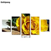 Wholesale oil painting framed abstract yellow - (No Frame)5 Panel Beautiful yellow roses oil painting on canvas flowers Wall Art Picture Home Decoration Modular wall paintings