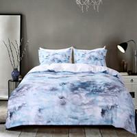 queen-quilt-set blau großhandel-Großhandel hellblau Marmor Muster Bettbezug Kissenbezug Set Mikrofaser Tröster Abdeckung Bettwäsche Set Quilt uns King / Queen / Twin Größe