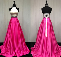 Wholesale Orange Corset Homecoming Dresses - 100% Real Image! Two Piece Prom Dresses Halter Satin Corset Lace Up Backless Graduation Dresses White Pink Homecoming Dress