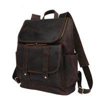 Wholesale men business backpack resale online - Fashion Large Capacity Genuine Leather Men Outdoor Travel Backpack Duffel Bag Business Laptop Luggage Bag Handbag