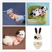 Wholesale baby diapers crochet animal resale online - Cute Puppy Dog Newborn Baby Boys Photography Props Knitted Infant Animal Costume Boys Outfits Crochet Baby Hat Diaper Set