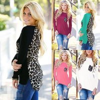 Wholesale Ladies Lace Knit Tops - wholesale womens tops round Neck long Sleeve T Shirts Summer ladies tops Knitting stitching leopard chiffon t-shirt European Style Tops