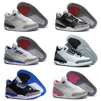 Wholesale Orange Black Powder - 2018 High Quality basketball shoes men women wolf grey sport blue Black Cement White True Blue Dark Powder Blue Sneakers III Athletics Boots