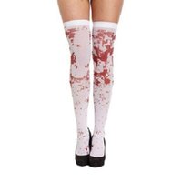 tv socken großhandel-snowshine YLWX Frauen Sexy Horror Weiß Halloween Party Bloody Krankenschwester Fancy Lange Socken