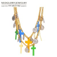 Wholesale Neoglory Necklace - Neoglory Enamel Bohemian Chain Necklaces Light Yellow Gold Colorful Classic Statement Crosses Religious Charm For Women