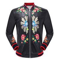 Wholesale Painted Jacket Leather - New Fashion Men's Leather Jacket Outerwear locomotive stand collar jackets Embroidery dragon brand G man Casual Coat