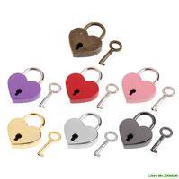 Heart Shape Vintage Old Antique Style Mini Archaize Padlocks Key Lock With key