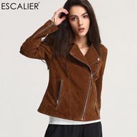 Wholesale Xxs Leather - Escalier 2017 Fashion Genuine Leather Jacket Women Zipper Slim Motorcycle Outerwear Coats Turn-down Collar Basic Jackets