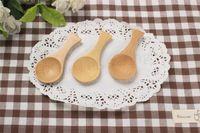 café puro al por mayor-Cuchara de té de mango corto de madera 9.2 * 4.5 cm puro bambú natural hecho a mano cuchara práctica multifunción miel café azúcar cucharas