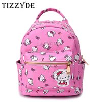 Wholesale Cute Bags For Girls Travel - Cute Hello Kitty Mini Children Cartoon School Backpack For Girls Travel Lovely Embroidery Appliques School bags DM46