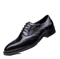 ingrosso grano coccodrillo-New Crocodile Grain Nero / Rosso Scarpe oxford Abito da uomo Vera pelle Lace-Up da uomo da uomo Business For Work Shoes