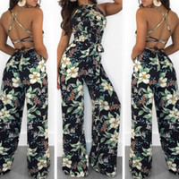 32f978b4d43 Sexy Women Summer Floral Long Wide Leg Pants Strappy Casual Beach Printed  Jumpsuit Blakless Romper Fashion Women Clothes