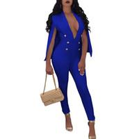 sexy langarm kostüm großhandel-Misstyle Beiläufige Art und Weise reizvolle Umhang-Hülsen-Overalls Frauen-reizvolle lange Hose Overall V-Ausschnitt Clubwear Kostüm Strampler