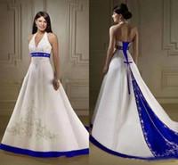 Wholesale Open Back Wedding Dresses Empire - White Royal Blue A Line Wedding Dresses 2018 Halter Neck Open Back Lace Up Closure Satin Bridal Gowns Custom Made Court Train