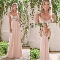 ingrosso nuovi abiti da marina-2018 New Rose Gold Bridesmaid Dresses Una linea senza spalline Backless Wedding Party Dress Paillettes Beach Chiffon Maid of Honor Abiti