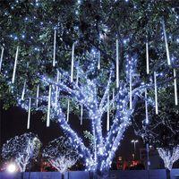 yılbaşı ağacı led tüp toptan satış-Renkli Renkli 30 cm 18 LED 2.4 M 8 tüpler / set 144LED Meteor Yağmur Duş Ampul Noel Ağacı Ücretsiz Gemi 1 takım / grup