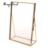 бесплатные портретные фотографии оптовых-MagiDeal античная латунь стекло фоторамка портрет бесплатно стенд 3.5 x 5 дюймов-отличное качество подарок для свадьбы друзей