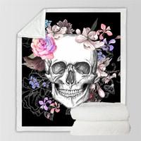 colcha de caveira venda por atacado-Europa BeddingOutlet Açúcar Cobertor Crânio para Camas de Rosas Florais Colcha Fina Moda Colcha 130x150 cm Cobertor de Lã