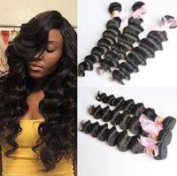 26 inç derin dalgalı saç toptan satış-Brezilyalı Daha Dalgalı Gevşek Derin Kıvırcık Işlenmemiş Insan Bakire Saç Örgüleri 8A Kalite Remy İnsan Saç Uzantıları Boyanabilir 3 demetleri / lot