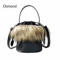couro saco balde preto venda por atacado-Osmond 2018 preto pu couro messenger bags faux fur mulheres bolsa bolsa feminina balde sacos de ombro senhoras bolsas bolsas