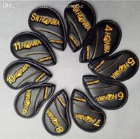 11 golfe venda por atacado-10 pçs / set Honma golf ferro clube headcover set upscale PU com ouro / vermelho dupla face bordados varas de golfe capa 4-11 SW AW 2 cores