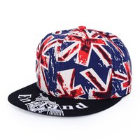 Wholesale british coupling - New hip-hop Female British flag Flat-rimmed baseball cap men's sunscreen couple summer hats women ball caps 6 Colors