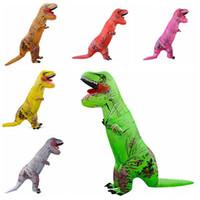 ingrosso far saltare la festa-Dinosauro gonfiabile Costume Blow Up Suit Compleanno Vestito Cosplay Outfit Adulto Bambini Partito Dinosauro Costume Rifornimenti del partito CCA10491 3 pz