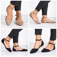 ingrosso sandali in cotone marrone-Womens Flats punta a punta fibbia alla caviglia cinturino scava fuori i sandali moda nero marrone estate all'aperto scarpe LJJG630