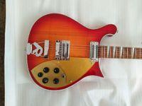 Wholesale ric guitars resale online - Rare RIC Strings Cherry Sunuburst Electric Guitar Gloss Varnish Fingerboard Checkerboard Binding Gold Pickguard Toaster Pickups