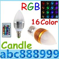 Wholesale Brand New Silver Golden W E27 E12 E14 Led Candle Lamp RGB Colors Changeable Led Candle Light Bulb Lamp AC V Remote Control